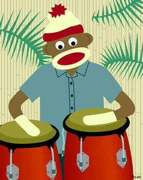 Sock Monkey Conga Drums Bongos Drummer Art Print