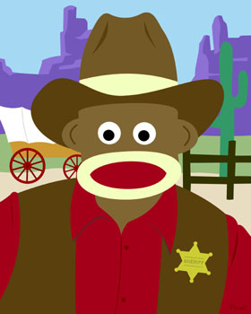 Sock Monkey Cowboy Hat Western Decor Pop Art Print