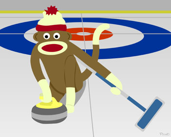Sock Monkey Winter Olympics Curling Original Art Print