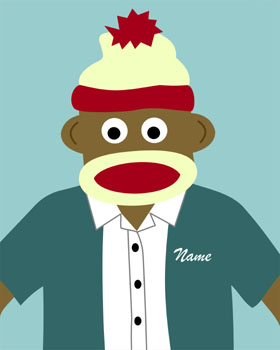 Sock Monkey Customized Boy Original Pop Baby Art Print