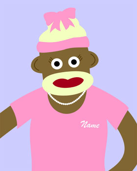 Sock Monkey Customized Girl Original Pop Baby Art Print