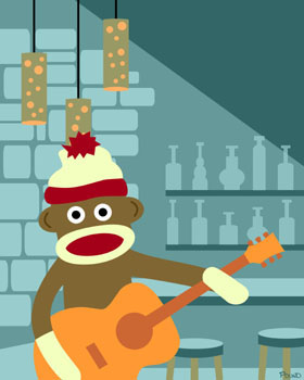 Sock Monkey Acoustic Guitar Player Pop Art Print