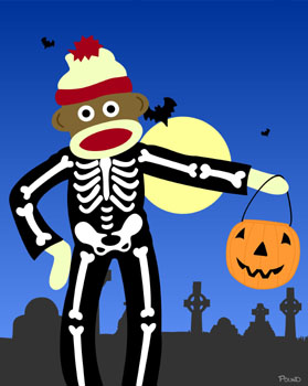 Sock Monkey Halloween Skeleton Pumpkin Pop Art Print