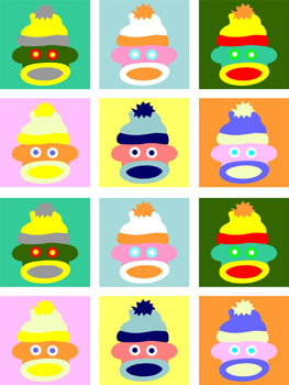 Sock Monkey Colorful Baby Original Pop Art Print