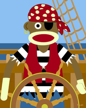 Sock Monkey Caribbean Pirate Ship Wheel Pop Art Print