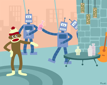 Sock Monkey Robot Cocktail Party Pop Art Print