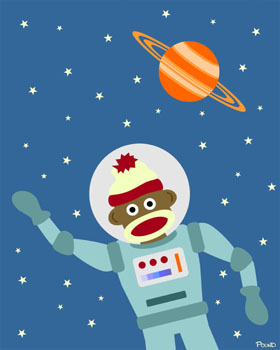Sock Monkey Astronaut Lost in Outer Space Pop Art Print