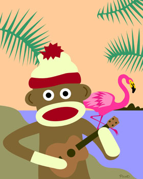 Sock Monkey Ukulele Music Pink Flamingo Pop Art Print