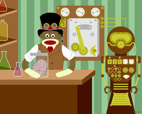 Sock Monkey Steampunk Mad Scientist Lab Robot Pop Art Print