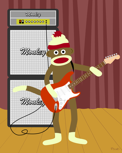 Sock Monkey Electric Guitar Strat Art Print