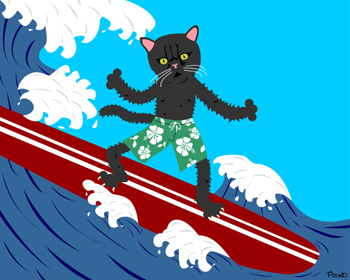 Black Cat Surfer Surfboard Kitty Pop Art Surf Print
