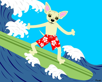 Chihuahua Surfer Dog Surfing Surf Board Pop Art Print