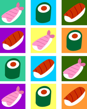 Sushi Colorful Pop Art Style Original Art Print