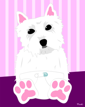 West Highland White Terrier Westie Dog Puppy Art Print
