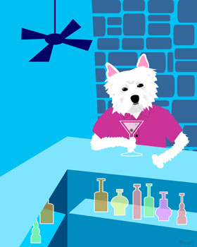 West Highland Terrier Dog Westie Martini Pop Art Print