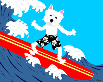 West Highland Terrier Dog Surfer Westie Surf Board Art