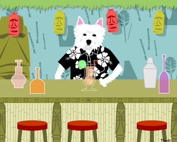 Westie West Highland Terrier Dog Tiki Bar Pop Art Print