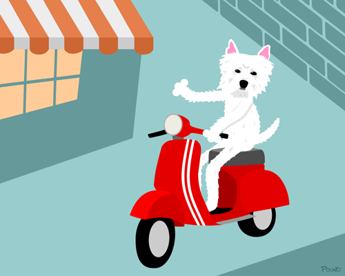 West Highland White Terrier Vespa Scooter Dog Art Print