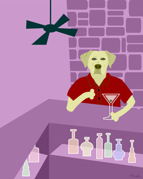 Yellow Labrador Retriever Dog Martini Lab Pop Art Print