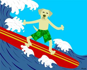 Yellow Labrador Retriever Dog Surfer Surfing Art Print