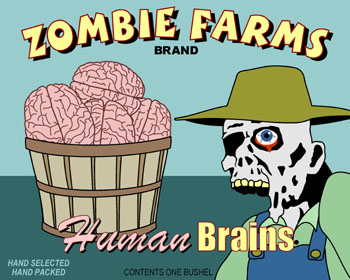 Zombie Farms Brains Fruit Crate Label Pop Art Print